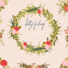Hand Drawn Flowers and Wreaths - Hetty Foliage    Hand drawn flower and leaf clip art. The flowers have been hand painted and put together in pretty