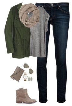 A fashion look from September 2016 featuring H&M t-shirts, J.Crew jackets and AG Adriano Goldschmied jeans. Browse and shop related looks. Fall Winter Outfits, Autumn Winter Fashion, Teen Fashion, Fashion Outfits, Womens Fashion, Cardigan Verde, Everyday Outfits, Pretty Outfits, What To Wear
