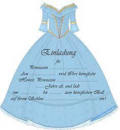 Einladung Prinzessin Geburtstag: Ein schönes Kleid für Cinderella und schon kann der Ball starten. Eine stilsicher für kleine Prinzessinnen auf der Erbse