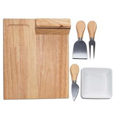 """This impressive, yet versatile set includes a bamboo cheese board, a magnetic block with stainless steel utensils (spreader, fork, mini cleaver and knife) and a porcelain dish for spreads or condiments. Board, 10 1/2"""" L x 8"""" W x 2 2/3"""" H. Hand wash. Imported."""