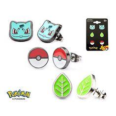 Get these Womens Pokemon Cute Characters Enamel Stub 3 Pair Earrings Set