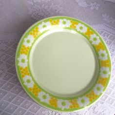 Franciscan Picnic Luncheon Plates / Vintage California Pottery / Yellow and Green Earthenware by vintagepoetic on Etsy