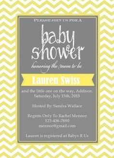 Yellow and gray neutral baby shower chevron invitation birdie baby a personal favorite from my etsy shop httpsetsylisting237221563baby shower invitation chevron filmwisefo