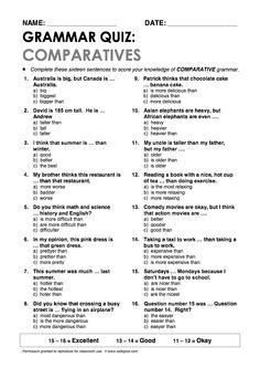 """Comparatives"" Grammar Quiz"