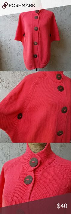"""🆕251) Orangey red, big button wrap I think this is the coolest wrap/cape.... button down the front you can wear as is, or open the buttons in the front and wear it open like a cardigan....the armhole is between the buttons on the side.... where the 'collar' up or down... super cute on... measures approximately 27"""" from the collar down to the hem...tu6.... Sweaters"""