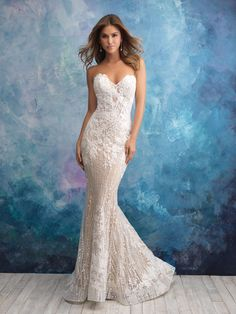 Trendy wedding gown fit and flare lace allure bridal Ideas White Bridal Dresses, Bridal Wedding Dresses, Bridesmaid Dresses, Wedding Wear, Wedding Tips, Bridal Style, Wedding Ceremony, Strapless Lace Wedding Dress, Strapless Sweetheart Neckline