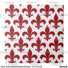 Fleur de lis French Pattern Parisian Design Ceramic Tile