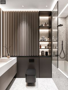 Top Amazing Black Modern Bathroom Interior Design Secrets RoomSketcher Home Designer is stuffed with loads of great features to fulfill your house des. Bathroom Layout, Modern Bathroom Design, Bathroom Interior Design, Modern House Design, Small Bathroom, Washroom Design, Master Bathroom, Dream Bathrooms, Bathroom Marble