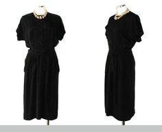 40s Dress GRAYWOOD Vintage Sheath Black Career by DeannesVintage