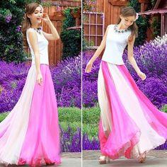 Women Boho Floor-Length Long Maxi Beach Party Loose Flared Skirt | fashion house in bangladesh