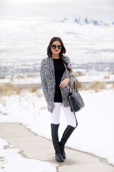 Black And White Speckled Cardigan # Peonies Trends Of Winter Apparel Speckled Cardigans Cardigan Black and White Cardigan Clothing Cardigan 2015 Cardigan Apparel Cardigan How To Wear Fall Winter Outfits, Autumn Winter Fashion, Love Fashion, Womens Fashion, Winter Stil, Street Style, Style Me, Cute Outfits, Stylish