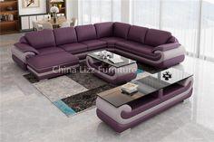 Modern Elegant Violet L Shape Genuine Sectional Sofa linkedin: Cindy.L Liang