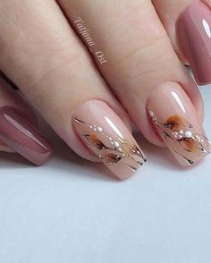 55 Best Floral Nail Art Designs 2020 - Page 52 of 55 - TipSilo Nail Art Designs, Short Nail Designs, Acrylic Nail Designs, Acrylic Nails, Autumn Nails, Fall Nail Art, Elegant Nails, Stylish Nails, Cute Nails