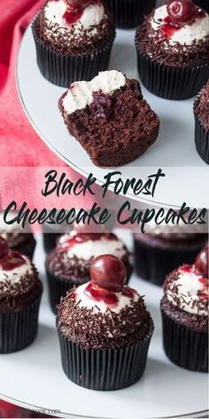 Black Forest Chocolate Cupcakes with Cream Cheese Frosting have all the flavour of black forest cake in cupcake form and an irresistible Cream Cheese Frosting. #blackforest #chocolatecupcakes #cupcakes via @sugarsaltmagic