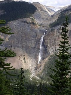 Takakaw Falls in Yoho National Park, BC, Canada. Fed by melting glacial ice.