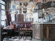 Schilderij interieur - Paul Vereecke  - Cafe oud Arsenaal - Olieverf op doek - 100 x 75 cm. -