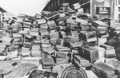 March 30, 1942: The first trainload of Jews from Paris arrive at Auschwitz. This photograph shows the many suitcases of those deported to Auschwitz, many of whom would never return.    Source: United States Holocaust Memorial Museum