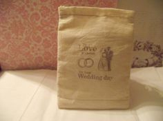 Muslin Bag Hand Stamped With Wedding Couple by mslizz on Etsy, $5.00
