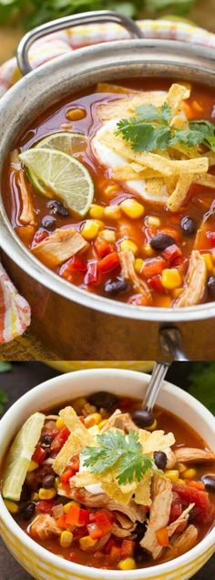 This Quick and Easy Chicken Taco Soup from Dinner at the Zoo is an EASY comfort food recipe that only takes 25 minutes to make!