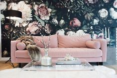A Modern Glam L.A. Pad | Ashley's clients basically handed over a large blank canvas and she made a masterpiece. Blending of-the-moment looks like large floral wallpaper with classic vintage looks, she created a space that is heavy on visual impact but not overwhelming.