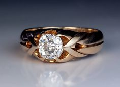Gold Jewelry 1 Carat Old Mine Cut Diamond Antique Men's Ring circa 1890 The gold strapwork ring is prong-set with a sparkling bright white antique cushion cut diamo Antique Mens Rings, Vintage Gold Rings, Antique Jewelry, Vintage Jewelry, Mens Gold Rings, Antique Diamond Rings, Emerald Rings, Ruby Rings, Copper Jewelry