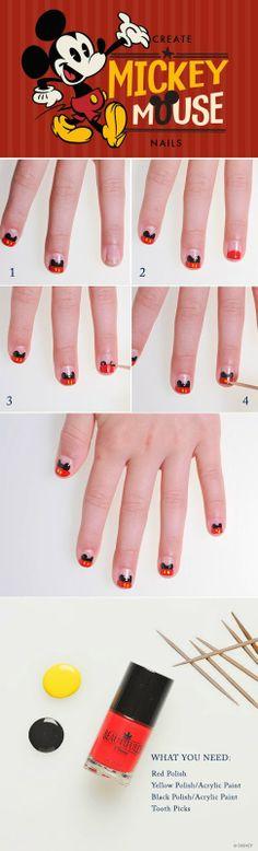 DIY Mickey Mouse Nails @Hayley Sheldon Sheldon Sheldon Sheldon Renee