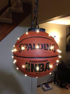 Lights in a ball for a boys room.. Could be done with any ball
