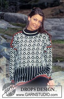 DROPS genser i Camelia med grafisk nordisk ruter og striper ~ DROPS Design Fair Isle Knitting Patterns, Fair Isle Pattern, Sweater Knitting Patterns, Knit Patterns, Free Knitting, Finger Knitting, Drops Design, Pull Jacquard, Pulls