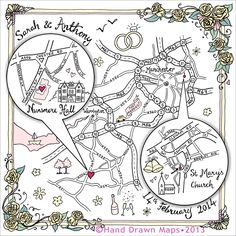 hand drawn map for wedding - love this as an idea for the evening guest invite. With a map of Edinburgh and our reception venue.