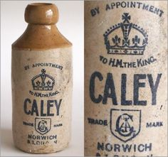 Edwardian vintage stoneware ginger beer bottle: Caley, Norwich/London