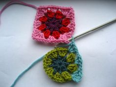 joining granny squares as you go...eliminates having to sew them all together at the end.