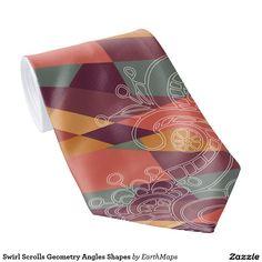 Swirl Scrolls Geometry Angles Shapes Tie - Men's Fashion Neck Ties.