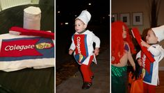 """Colgate"" Halloween Costume www.themotherboards.ca #cole #halloween #costume #colgate #toothpaste #sew #DIY"