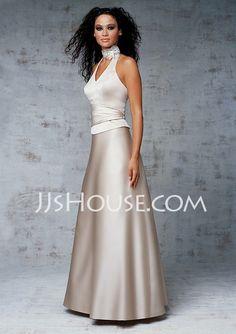 Bridesmaid Dresses - $98.99 - A-Line/Princess Halter Floor-Length Satin Bridesmaid Dresses With Ruffle (007001810) http://jjshouse.com/A-line-Princess-Halter-Floor-length-Satin-Bridesmaid-Dresses-With-Ruffle-007001810-g1810
