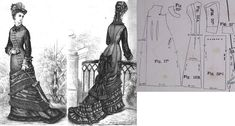 Cornelia 1877.: Aside closed princess gown with scarf tunique of silk, silk reps or fine wooll. Fig. 17. front part, fig. 18. back part, fig. 19. back drapery, fig. 20. sleeves, fig. 21. cuff in half, fig. 22. collar in half.