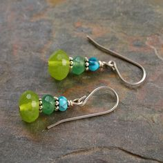 Turquoise and Green Quartz Earrings
