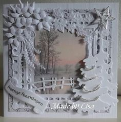 Best 11 What beautiful work! Christmas Paper Crafts, Christmas Cards To Make, Xmas Cards, Handmade Christmas, Christmas Decorations, Beautiful Christmas Cards, Window Cards, Marianne Design, Paper Cards