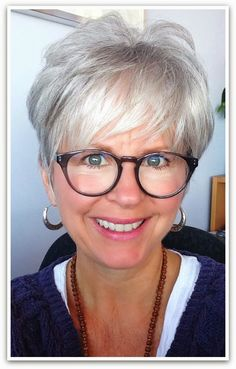 I love the look - grey hair, great cut, great glasses.