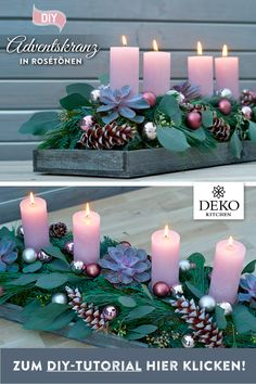 DIY-Weihnachtsdeko: dieser Adventskranz in angesagten Rosétönen mit Eukalyptus. DIY Christmas decoration: you can make this advent wreath in trendy rose tones with eucalyptus and succulents! You can find the DIY instructions here: www. Christmas Pine Cones, Christmas Wood, Christmas Wreaths, Christmas Decorations, Xmas, Table Decorations, Holiday Decor, Christmas Cards 2018, Homemade Christmas Cards