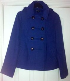 Ladies Topshop Blue Military Style Hooded Coat Jacket Size 8 - Good Condition
