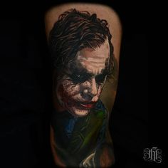 This Ledger Joker was tattooed by Nikko Hurtado. #InkedMagazine #joker #batman #villain #comics #tattoo #tattoos