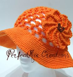 Bright Orange Floppy with Butterfly Flower Applique