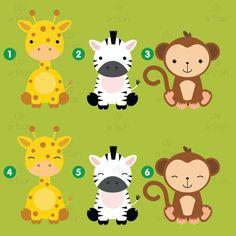 Clipart de animales bebé Safari / selva animales por ClipArtisan Jungle Animals, Baby Animals, Clipart Noel, Jungle Party, Mickey Party, Baby Shower, How Big Is Baby, Art Mural, Diy Party