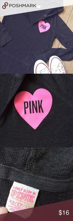 VS•Pink•Long•Sleeve•Thermal•Hoodie VS Pink Long Sleeve Thermal Hoodie. Size XS. 60% Cotton, 40% Polyester. Features a hot pink leopard appliqué. In excellent condition. PINK Victoria's Secret Tops Sweatshirts & Hoodies