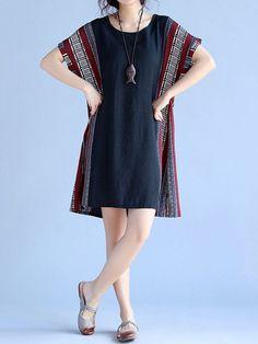 Loose Hem Patchwork Short Sleeve O Neck Women Dresses