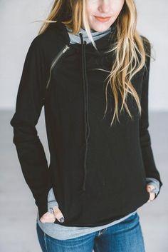 *Exclusive Double Hooded Sweatshirt - Black