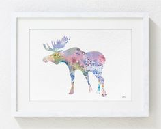 Elk Art Watercolor Painting - 8x10 Archival Print - Colorful Art Moose Antler Bull Silhouette Home Decor Wall Art