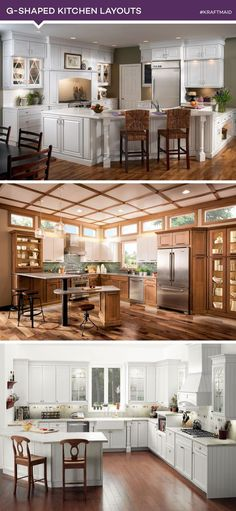 The G-shaped kitchen is similar to the U-shaped kitchen layout—with the addition of a peninsula.