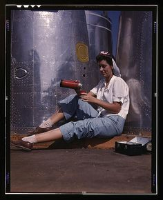 Girl worker at lunch also absorbing California sunshine, Douglas Aircraft Company, Long Beach, Calif. (LOC) by The Library of Congress, via Flickr