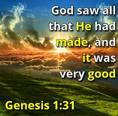 God saw all that He had made, and it was very good. - Genesis 1:31 #887thebridge #hope #bibleverse http://887thebridge.com/word-of-hope/2014-07-17.html